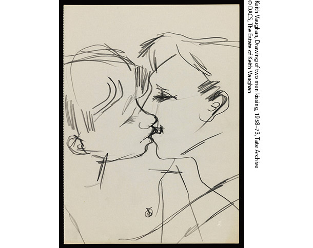 Drawing of two men kissing